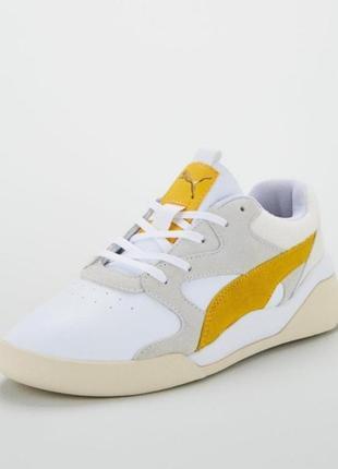 Яркие молодежные кроссовки кеды сникерсы puma желто белого цвета  оригинал!!!