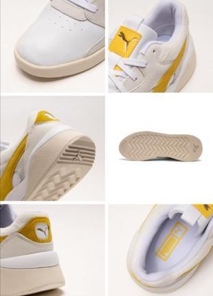Яркие молодежные кроссовки кеды сникерсы puma желто белого цвета  оригинал!!!8 фото