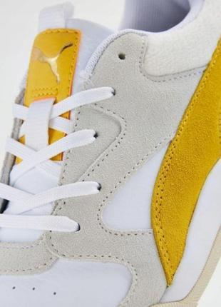 Яркие молодежные кроссовки кеды сникерсы puma желто белого цвета  оригинал!!!4 фото