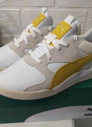 Яркие молодежные кроссовки кеды сникерсы puma желто белого цвета  оригинал!!!10 фото