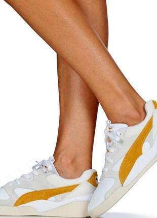Яркие молодежные кроссовки кеды сникерсы puma желто белого цвета  оригинал!!!5 фото