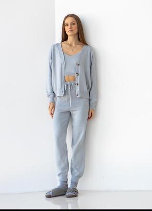 Костюм тройка брюки+топ+кардиган серый