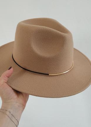 Шляпа фетровая федора бежевая, капелюх ковбойка