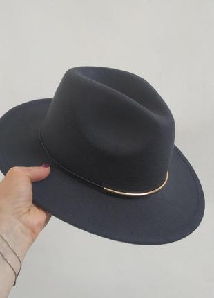 Фетровая шляпа федора черная, капелюх ковбойка