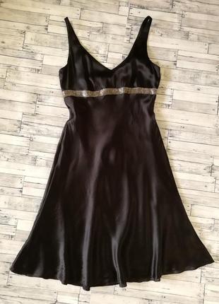 Шелк 100% платье warehouse в бельевом стиле черное