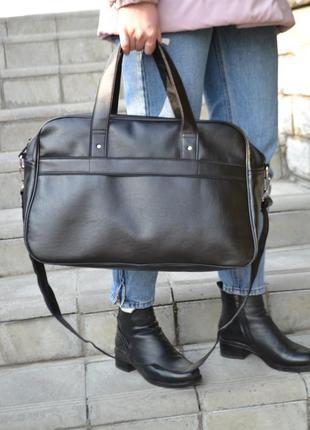 Большая вместительная кожаная дорожная спортивная сумка экокожа унисекс женская мужская