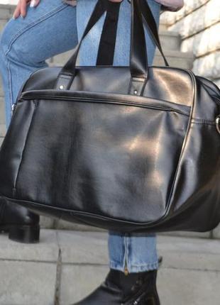 Кожаная дорожная спортивная мужская сумка экокожа (плечевой ремень, карман под ноутбук)