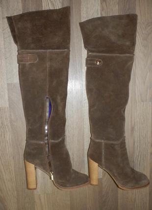 Шикарные замшевые сапоги ботфорты на высоком каблуке sasha fabiani