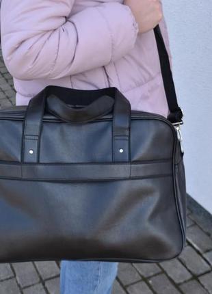 Большая вместительная дорожная мужская сумка с экокожи