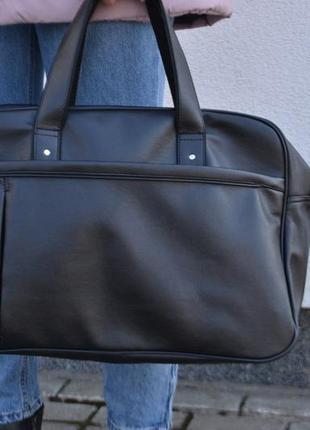 Спортивная дорожная кожаная сумка с экокожи мужская женская унисекс