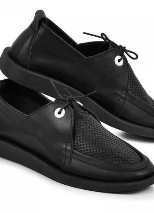 Туфли аманда черная натуральная кожа перфорация