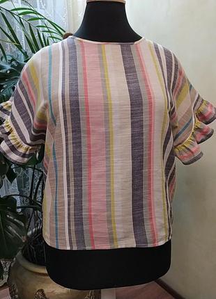 Актуальная хлопковая блуза в полоску, с рюшами, 16 размер