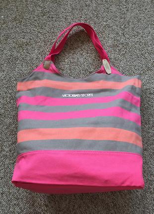 Пляжная полосатая сумка victoria's secret