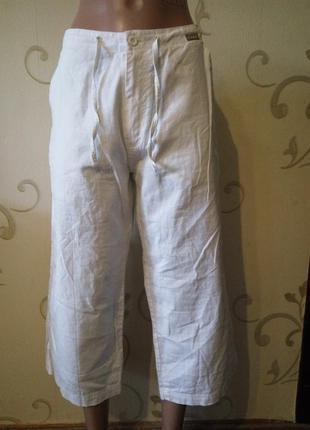 Белые укороченные штаны кюлоты бриджи капри cars jeans . лен хлопок . размер 12