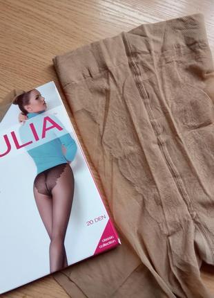 Телесные колготки 4-l р. 20 den giulia bikini с кружевными трусиками бикини