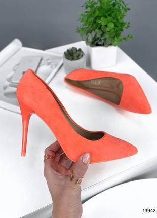 Туфли яркие оранжевые эко замша стильные