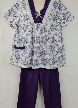 Женская трикотажная пижама / футболка с бриджами