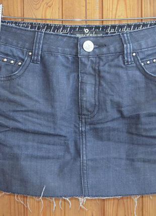 Джинсовая юбка с матовым напылением