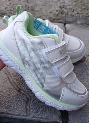Модные белые кроссовки для девочки на липучках р.27-32 наложенный платеж