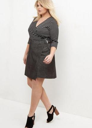 Черная базовая юбка трапеция на запахе вельветовая с высокой посадкой
