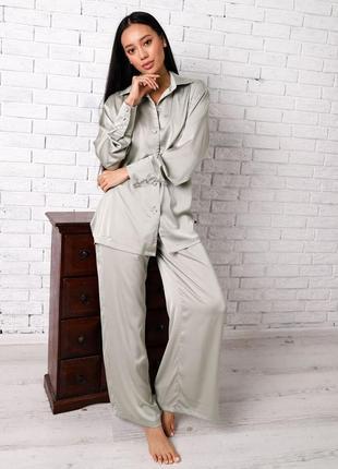 Пижама шелковый комплект рубашка и штаны свободного кроя