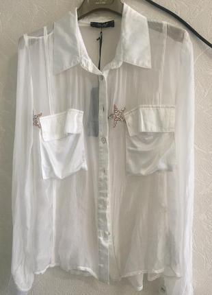 Шелковая  белая блузка. италия3 фото