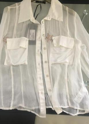 Шелковая  белая блузка. италия5 фото