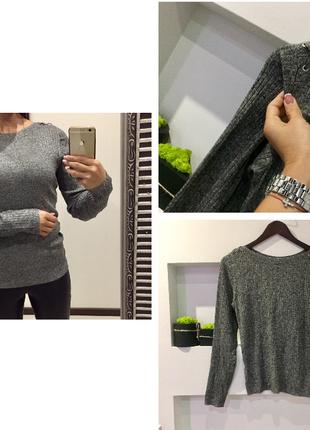 Трендовый серый свободный свитер гольф в рубчик со шнуровкой