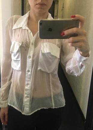 Шелковая  белая блузка. италия
