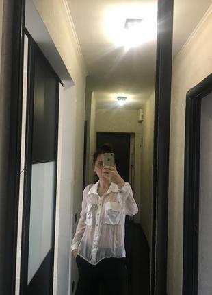 Шелковая  белая блузка. италия2 фото