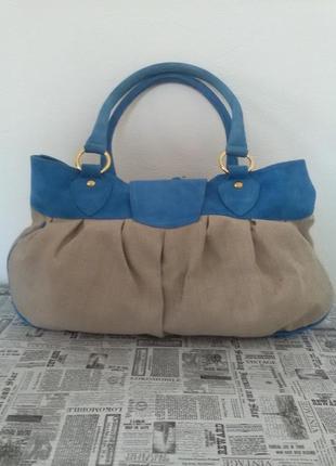 Женская сумка-лен замша