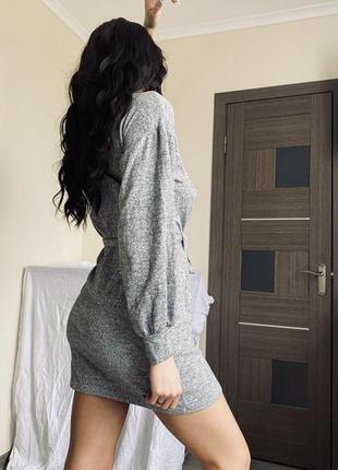 Платье сарафан тёплое туника пояс обьемные рукава