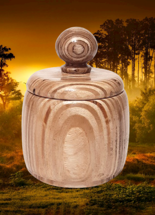 Деревянная круглая сахарница, ручная работа