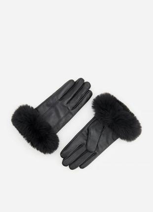 Натуральные кожаные перчатки reserved с мехом в стиле ретро рукавицы кожа