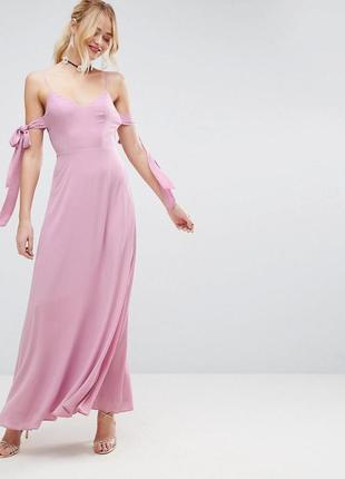 Шифоновое лавандовок платье