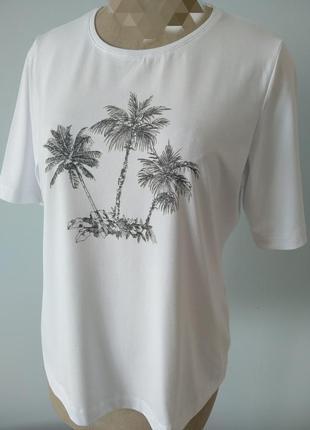 Футболка блуза трикотаж пальмы германия стрейч лето весна осень 2021