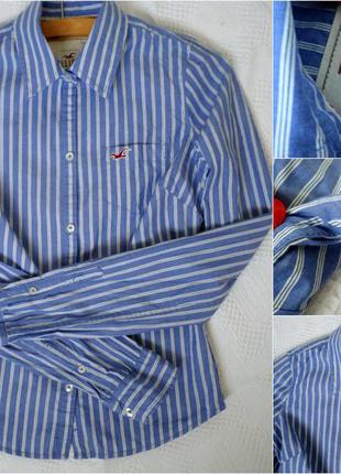 Голубая хлопковая рубашка в тонкие вертикальные полоски от hollister, рр  xs