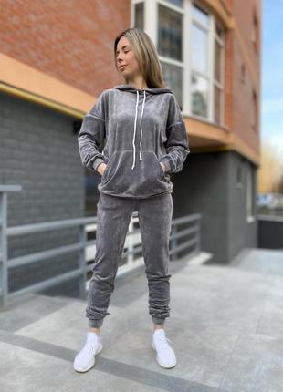 Женский велюровый костюм светло-серого цвета zh-444-grey
