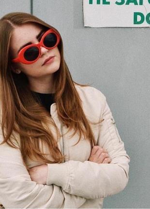 Ретро унисекс солнцезащитные очки с красной оправой как у курта кобейна