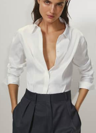 Massimo dutti- шикарная, белая рубашка, текущая коллекция