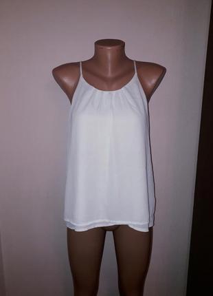 Шифоновая двухслойная блуза блузка на бретелях а-силует
