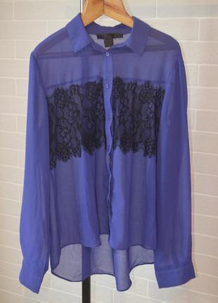 Красивая шифоновая блуза с кружевом