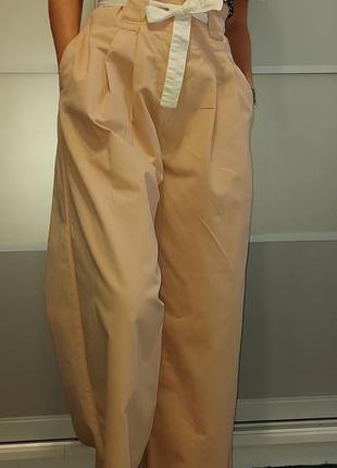 Пудровые брюки палаццо river island коттон