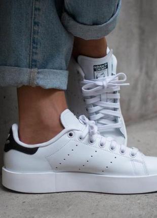 Белые натуральные кожаные кроссовки кеды на высокой подошве платформе adidas stan smith