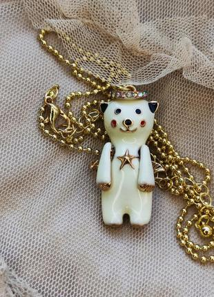 Кулон +цепочка в винтажном стиле медвежонок