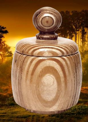 Круглая банка с крышкой из дерева для сыпучих продуктов, ручная работа