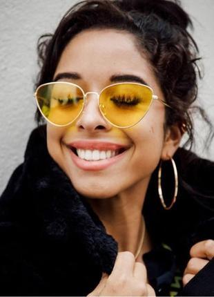 Солнцезащитные очки лисички с жёлтыми линзами