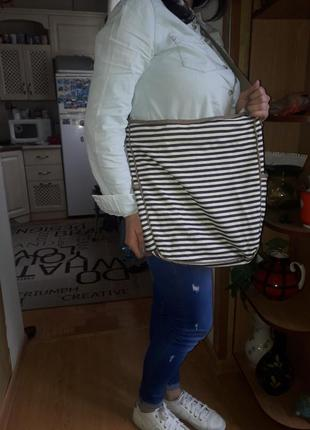 Практичная большая сумка кросс боди/натуральные материалы