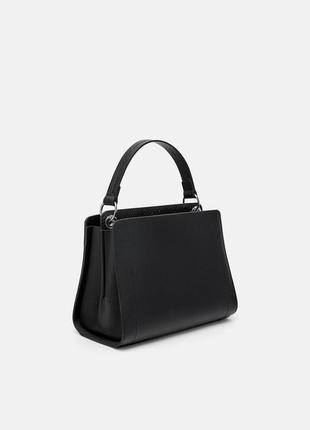 Оригинальная чёрная сумка с двумя отделениями и ремешком zara zara
