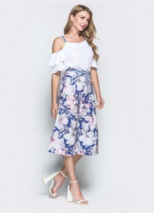 Разные цвета! нежный комплект костюм брюки кюлоты блузка топ весна 2021 цветы
